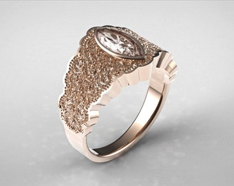 Marquise Engagement Ring, Unique Engagement Ring, Marquise Cut Engagement  Ring,Marquise Gold Ring