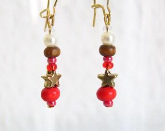 Stars Earrings, Christmas earrings, Fantasy earrings, Gift for Her, Pearls earrings, red earrings, Christmas gift, Valentine gift