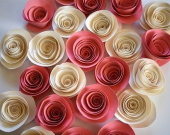 Coral Wedding Decor, Coral and Ivory Paper Roses, Card Stock Flowers