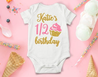 Half Birthday Outfit Girl Personalized One Piece Baby Bodysuit Pink And Gold Glitter Cupcake 6 Months 1/2