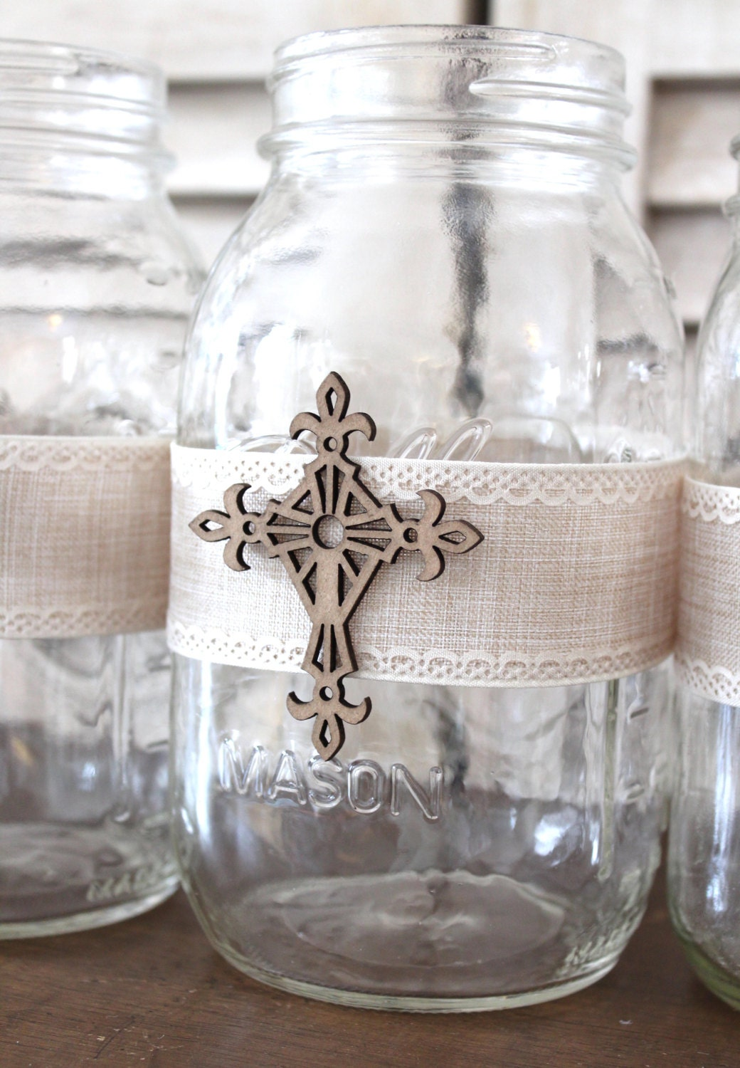 Communion confirmation baptism centerpiece mason jar wrap