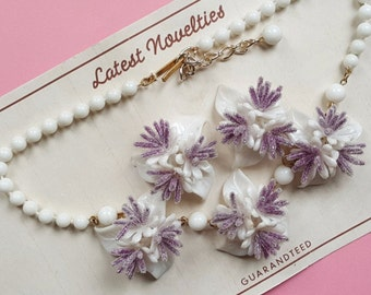Crysta vintage necklace and earring set - Lilac  ON SALE