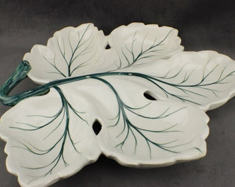 Large Majolica Leaf Divided Tray