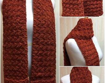 Pocket Scarf, Burnt Orange Scarf, Crochet Scarf, Wool Scarf, Pockets, Crocheted Scarf, Crochet Scarf Pocket, Winter Scarf, Fall Scarf
