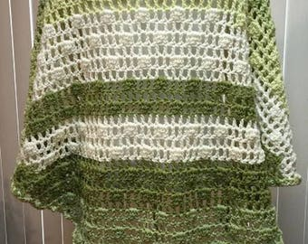 Prayer Shawl, Crochet Shawl, Green Crochet Shawl, Large Shawl, Crocheted Shawl, Gifts for Her, Crochet Prayer Shawl
