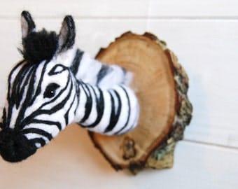 Needle Felted Zebra Trophy - Faux Taxidermy Zebra, Felted Safari Animal, 3D Wool Sculpture, Fiber Art, Fibre Art, Wall Mounted Zebra