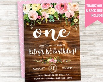 Rustic First Birthday Invitation Invite One 1st ANY AGE Wood Floral Kids Adults Watercolor Flowers Digital 5x7