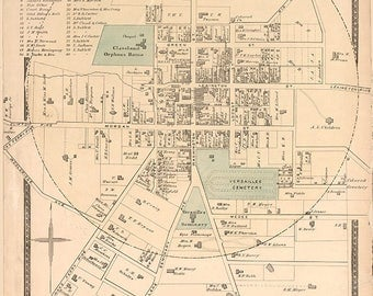 1877 Map of Versailles Woodford County Kentucky