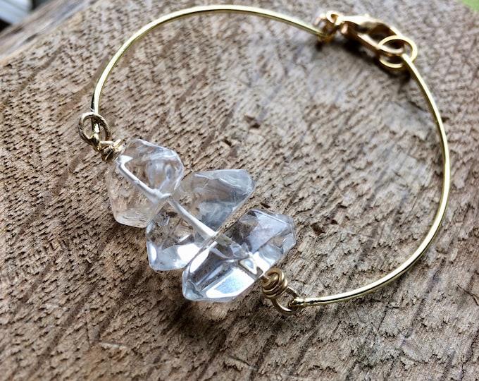 Fancy Herkimer Diamond Elegant Cuff Bracelet