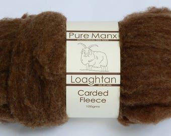 Roving / carded fleece (undyed spinning fibre): Rare native breed Manx Loaghtan