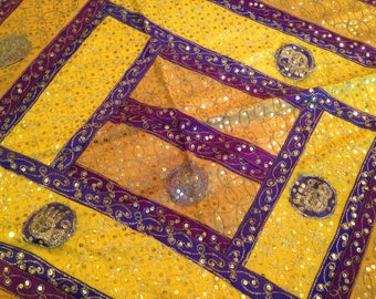 Embroidered Purple and Gold Silk Cloth from India