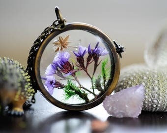 Terrarium jewelry, Boho necklace, Purple, Real flower pendant, Moss locket, botanical, nature inspired, gift for her