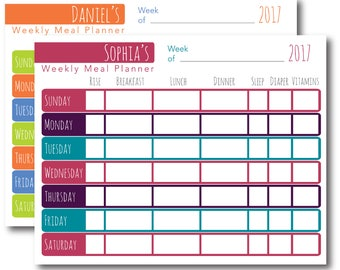 Weekly Meal Planner Printable Editable PDF Personalized