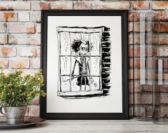 "The Demon Barber: SWEENEY TODD - Hand Drawn Illustration 8.5x11"" or 11x14"" GICLEE Print - Creepy Horror Movie Art Johnny Depp Tim Burton Art"
