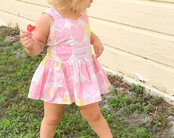 Baby toddler pink and white valentines day heart mini dress/tunic with self tie oversized bow