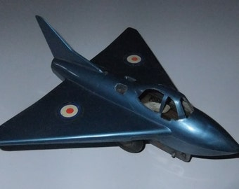 RAF jet fighter friction powered plastic vintage c1960s toy plane made in Gt Britain