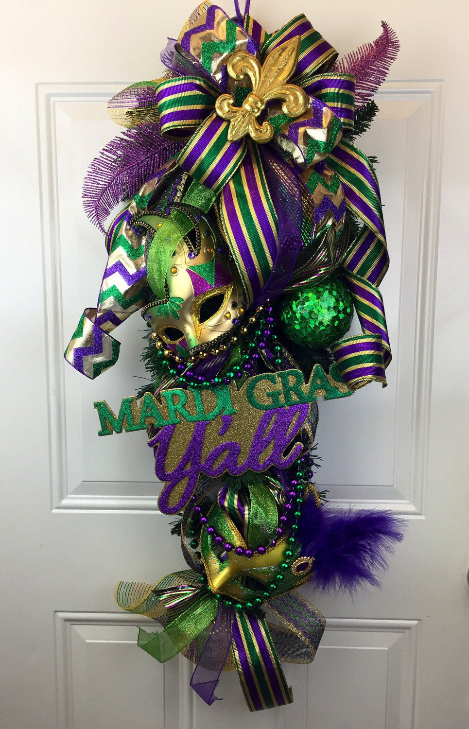Mardi Gras Swag Mardi Gras Door Decor Mardi Gras Wreath Fat