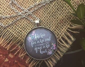 She Has Fire In Her Soul Necklace/Graduation Gift/Pendant Necklace/Pendant with Sayings