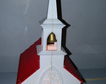 60s Vintage Christmas Collectible Church Decoration Lights Bell in Steeple Lit Windows