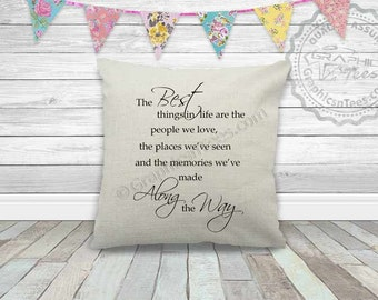 Best Things In Life Inspirational Quote On Quality Textured Linen Cushion