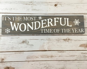 It's the Most Wonderful Time of the Year Wood Sign- Holiday Wood Sign, Handmade Wood Sign, Holiday Sign