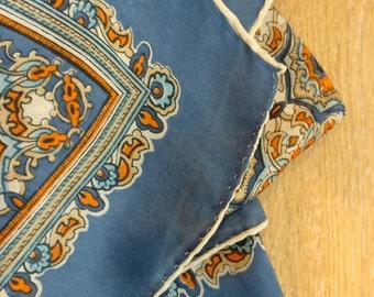 ORENTAL DESIGN MOTIF, silk scarf in orange, cream and blue, rustic design, hand rolled hem