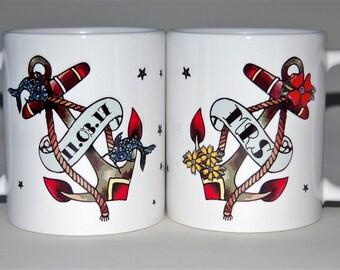 MR & MRS wedding mugs pair of anchor mugs flowers and fish wedding date customisation by Tattoo Mug Lady His and Hers mugs wedding gift