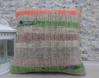"Faded Color Handmade Kilim Pillow 18"" x 18"" Turkish Kilim Cushion Bohemian Home Decor Outdoor Pillow Rustic Pillow Ethnic Pillow"