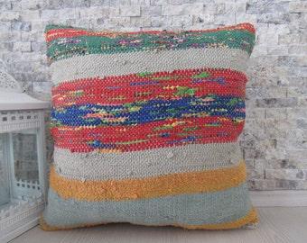 multi colour kilim pillow 18 x 18 aztec pillow bohemian pillow turkey pillow home decor embroidery pillow decorative pillow