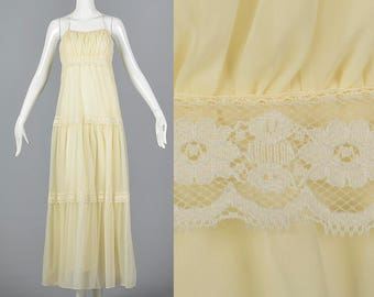 Small Flowy Maxi Dress Backless Dress Alternative Wedding Gown Vintage 1970s 70s Prom Sheer Halter Long Off White Lace
