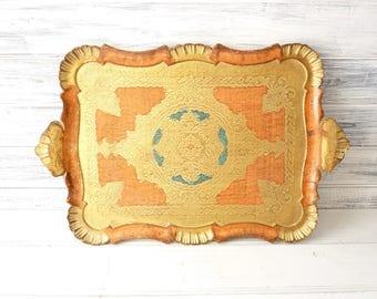 Vintage Italian Florentine tray. 50s, orange and gold. Wedding gift