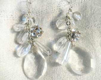 Vintage Clear Plastic Dangled Beaded Pierced Earrings With Rhinestone Cluster