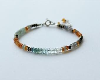 Aquamarine, Citrine, Pyrite & Labradorite Beaded Bracelet, Stacking Bracelet, Aquamarine Jewelry, Gift for Her, Boho Bracelet