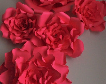 Giant red Paper flower backdrop, flower backdrop,Red paper flower wedding backdrop,Nursery room decor,Giant Paper flower Red ,giant Red rose