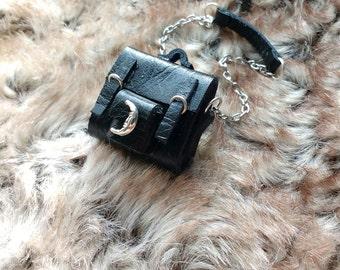 Miniature Leather Doll Bag - Leather Handbag - Dolls - Miniature - Gothic bag - Black Handbag - Doll House