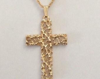 Vintage retro cross, gold cross, religious cross, authentic 1980's gold cross, men's cross, ladies cross