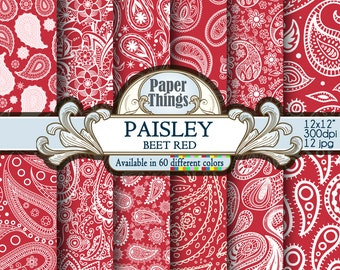 Instant Digital Paisley Background, Beet Red Paisley Digital Paper, Beet Red Scrapbook Paper with Red Printable 12 x 12 inch Paisley Pattern
