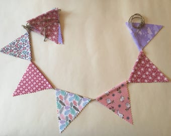 Bunting - Beautiful Mixed Fabric Bunny, Owl, Floral, Feather, Dandelion, Pink, Purple, String Ties, Pinked Edges, Nursery, Baby, Girl, Decor