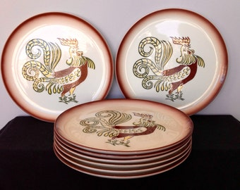 Vintage Brock of CA Chanticleer Rooster Dinner Plates - 8 Available!!