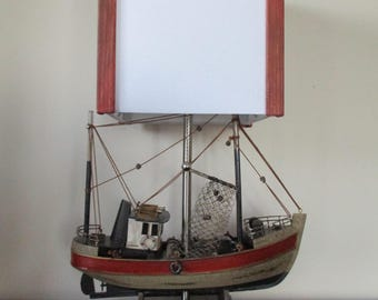 Ready to ship Fishing boat Lamp & shade. Very intricate wood boat w rope, netting, metal railing, pulleys, life rings w shade made to match!