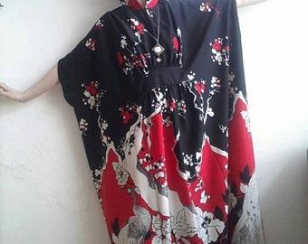 RED LANTERNS Kimono Dress Vintage 70's Hippie Long Dress Boho Festival Japanese Maxi Dress Butterfly Sleeves Kaftan Floral Party Dress