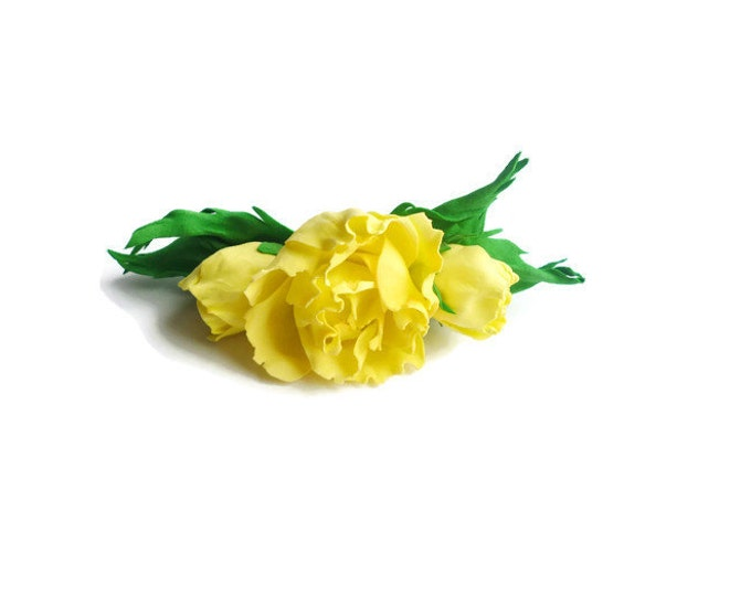 Yellow Roses Hairpin Sunshine Rose Bridal Hair Accessories Bohemian Wedding Hair Flower Yellow Hair Flower Yellow Hair Pin Lemon Yellow