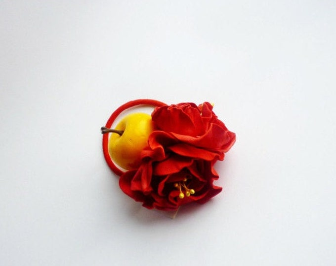 Scrunchy Red flowers yellow apple barrette Red roses handmade Hair Ties Flower Pin Prom Wedding Mom Event Flowers Gift for her Frida Kahlo