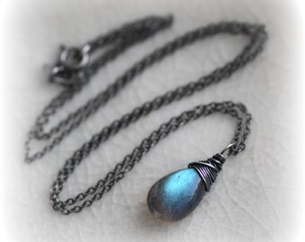 Labradorite Necklace for Women, Blue Flash Labradorite Pendant, Blue Labradorite Jewelry, Small Labradorite Necklace, Handmade Gift For Her