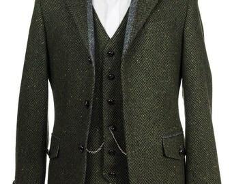 Pearse Tweed Herringbone Wool Tailored Fit Jacket