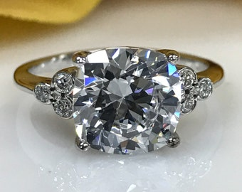 Moissanite Cushion Cut With Round Diamond Accents Engagement Ring 3.00ct. Set In 14k White Gold #4837
