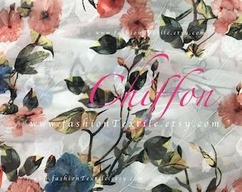 Pink Rose Polyester Chiffon Fabric by the yard