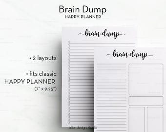Brain Dump, Happy Planner, Brain dump printable, To Do List,  Printable Planner, MAMBI, Happy Planner Inserts, Brainstorm Printable