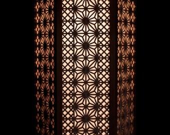 Hanging Hexagonal Shoji Lamp with Asanoha Kumiko