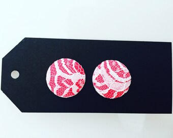 Pink and lace earrings